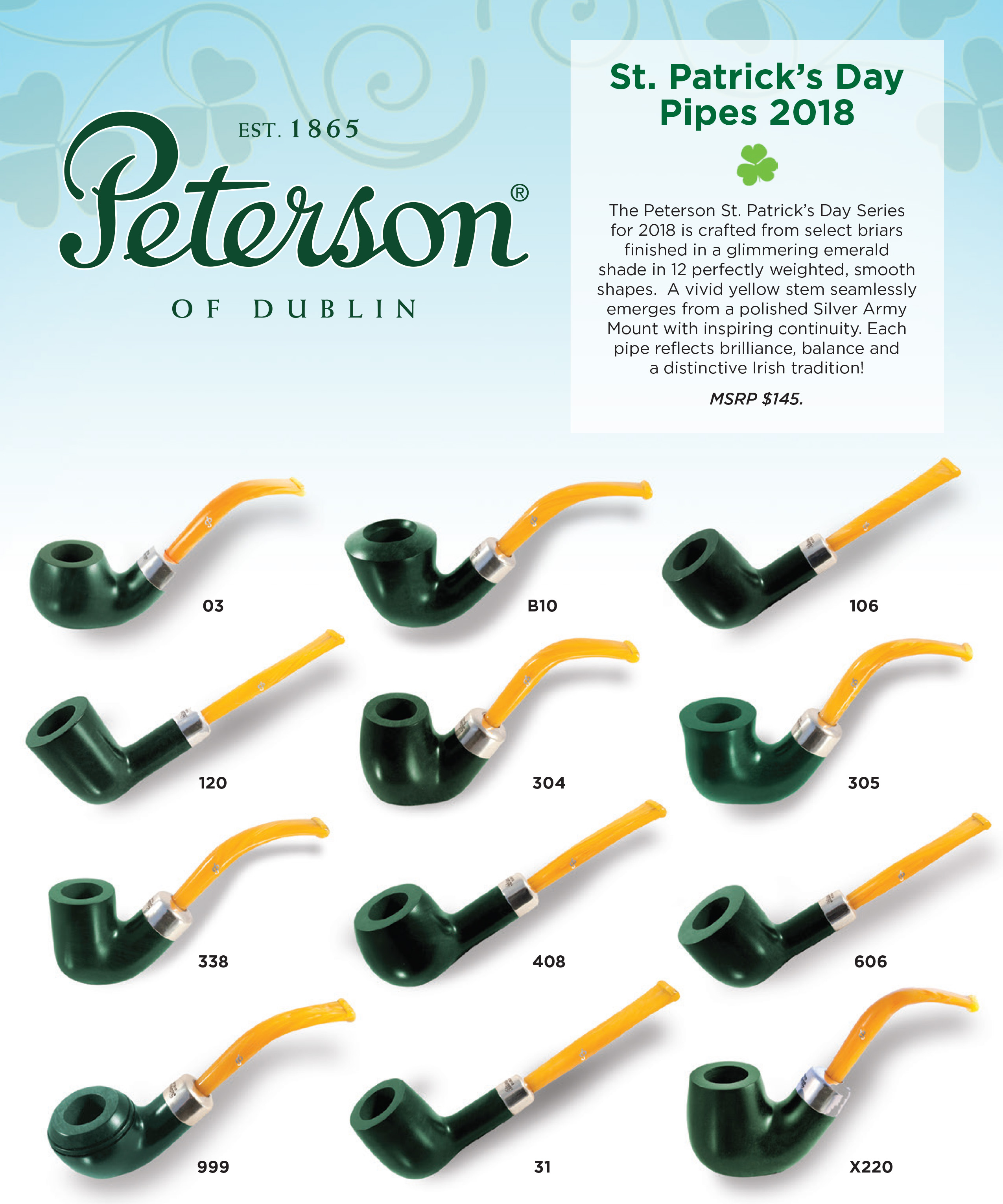 Peterson St. Patrick's Day 2018 Tobacco Pipes