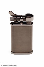 Kiribi Kabuto Short Black Nickel Pipe Lighter Front