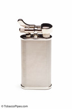 Kiribi Kabuto Silver Satin Pipe Lighter Front
