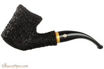 Brebbia Naif Rustic Bent Tobacco Pipe - Wood Band