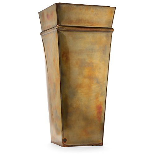 H Potter stainless steel planter with antique copper hand applied finish and clear coat lacquer, metal planting liner insert included