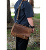 """14"""" Medium Lewis & Clark Courier Mail Bag in Distressed Tan Leather"""