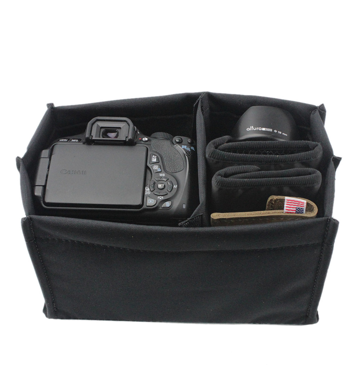 Adjustable Camera Bag Insert – Small sized Leather Bag Insert