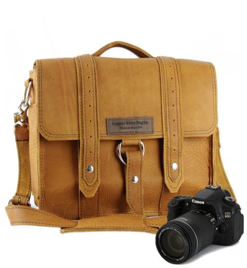 "10"" Small Safari Napa Camera Bag  in Tan Grizzly Leather"