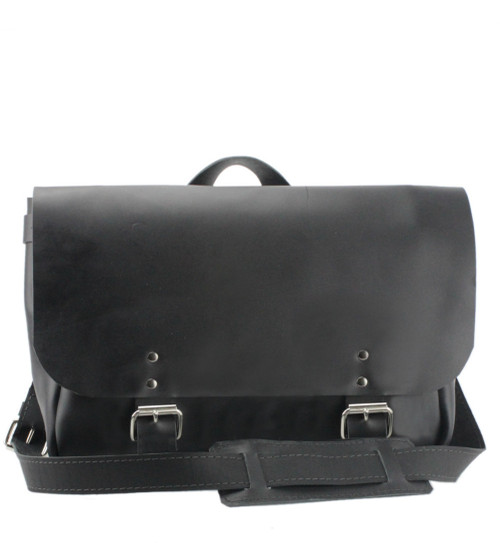 """14"""" Medium Lewis & Clark Courier Mail Bag in Black Napa Excel Leather"""