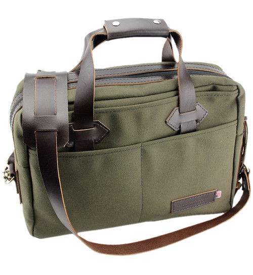"""15"""" Classic Briefcase in Forest Green Water Resistant Roomy Cotton Duck"""
