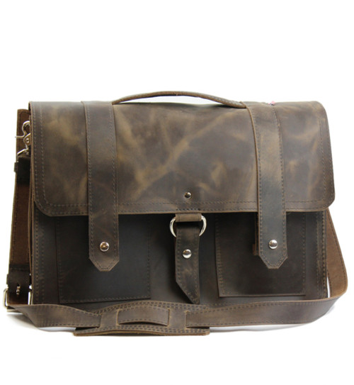 """15"""" Large Hemingway Briefcase in  Distressed Tan Oil Tanned Leather"""