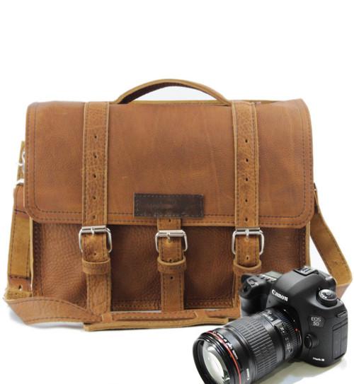 "14"" Medium BuckHorn Camera Bag in Tan  Grizzly Leather"