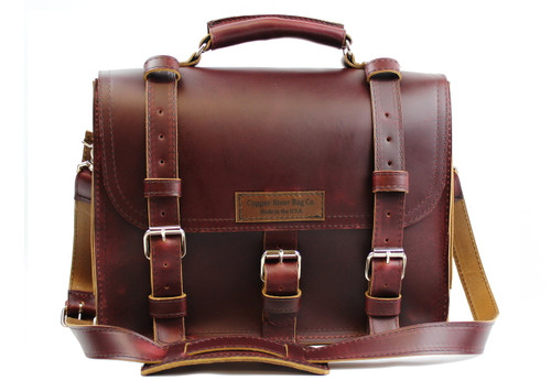 """15"""" Large Lincoln Classic Briefcase in Burgundy Red  Leather / Lined with Suede"""