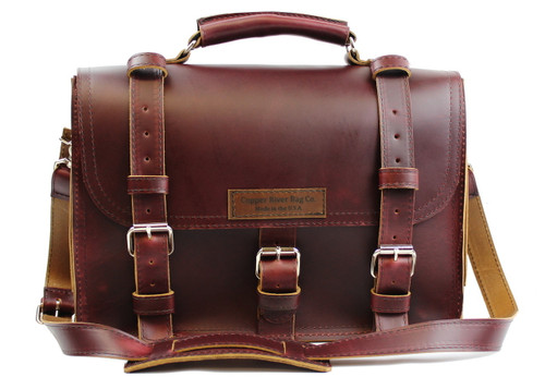 17 inch Lincoln Classic Leather Briefcase Burgundy Red - Made in the U.S.A. - 17-LIN-CLS-BRF-BUR-EXL