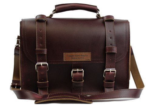 17 inch Lincoln Classic Leather Briefcase Coffee Brown - Made in the U.S.A. - 17-LIN-CLS-BRF-COF-EXL