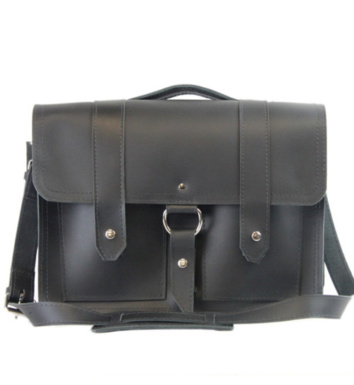 "15"" Large Executive  Hemingway Briefcase in Black Leather / Lined With Suede"
