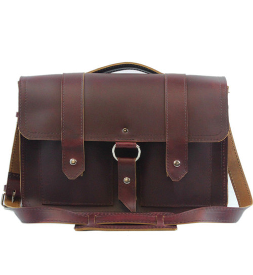"""Executive 15"""" Hemingway Leather Briefcase in Burgundy Red Leather / Lined With Suede"""