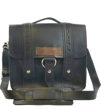 "10"" Small Voyager Brooklyn Safari iPad (Tablet) Bag in Black Napa Excel Leather"