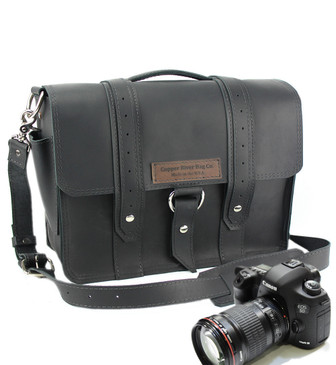 "15"" Large Sonoma Voyager  Camera Bag in Black Napa Excel Leather"