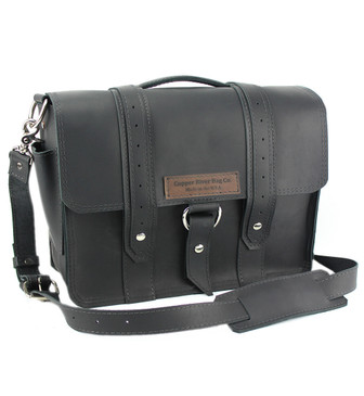 """17"""" X-Large Bolinas Classic Voyager Laptop Bag in Black Napa Excel Leather"""