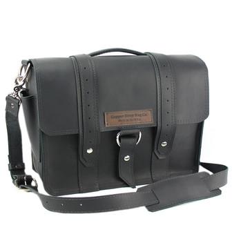 "14"" Medium Rockport Voyager Briefcase in Black Leather"