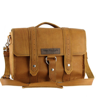 "15"" Large Belmar  Voyager Briefcase in Tan Grizzly Leather"