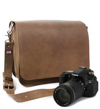 "Medium 14"" Brown Mission Newport Camera Bag Made in the U.S.A. - Brown - 14-MIS-BR-OIL-LCAM"