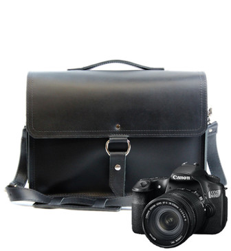 "15"" Large Midtown Sonoma Camera Bag in Black Napa Excel Leather"