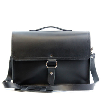 "14"" Medium Newtown Midtown Laptop Bag in Black Napa Excel Leather"