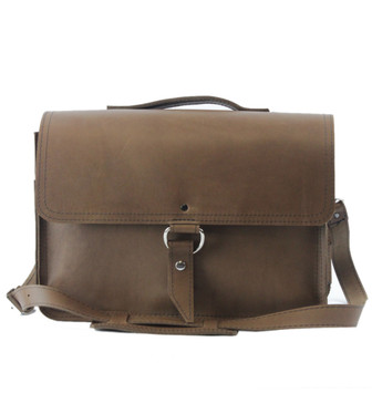 "15"" Large Sierra Midtown Large Laptop Bag in Brown Oil Tanned Leather"