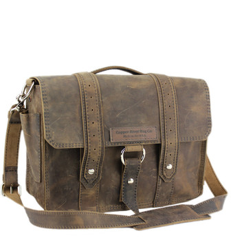 "14"" Newtown  Voyager Medium Laptop Bag in Distressed Tan Leather"