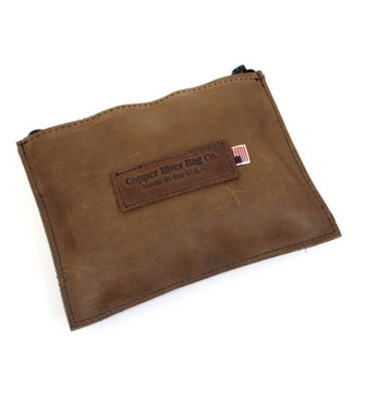 Leather Utility Zip Pouch - Medium - Brown - Made in the U.S.A. - MD-ZIP-POUC-BR-OIL