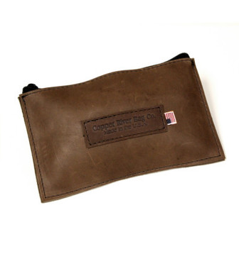 Leather Utility Zip Pouch - Small - Brown - Made in the U.S.A. - SM-ZIP-POUC-BR-OIL
