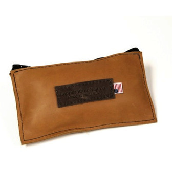 Leather Utility Zip Pouch - Small - Tan Grizzly - Made in the U.S.A. - SM-ZIP-POUC-TGZ