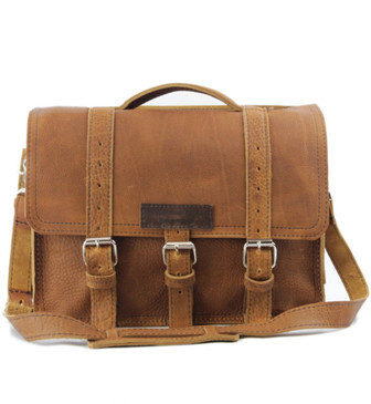 "15"" Large BuckHorn Laptop Bag in Tan Grizzly Leather"