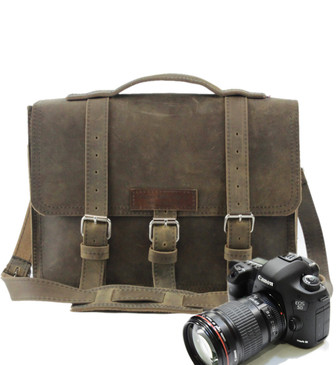 "15"" Large Sonoma BuckHorn Camera Bag in Distressed Tan Oil Tanned Leather"