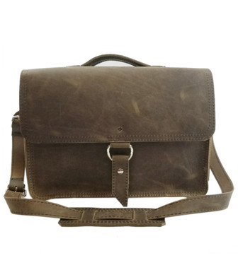 "15"" Large Sierra Midtown Laptop Bag in Distressed  Tan Oil Tanned Leather"