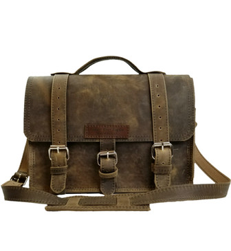 "15"" Large Sierra BuckHorn Laptop Bag in Distressed Tan Oil Tanned Leather"