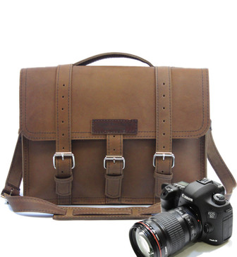 """15"""" Large Sonoma BuckHorn Camera Brown Oil Tanned Leather"""