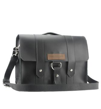 "14"" Newtown Journeyman Medium Laptop Bag in Black Leather"