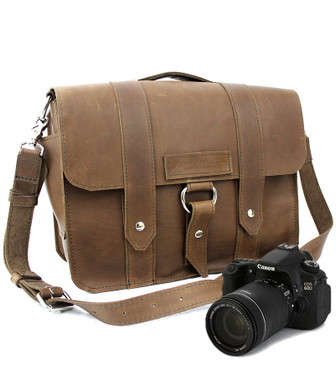 "Large 15"" Brown Journeyman Sonoma Camera Bag Made in the U.S.A. - 15-J-BR-OIL-LCAM"