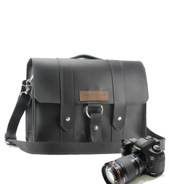 "14"" Newport  Journeyman Camera Bag in Black Leather"