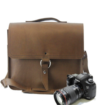 "10""Small Napa Midtown Camera Bag in Brown Oil Tanned Leather"