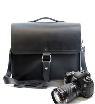 "10"" Small Napa Midtown Camera Bag in Black Napa Excel Leather"