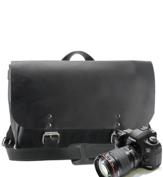 "14"" Medium Lewis & Clark Camera Bag in Black Napa Excel Leather"