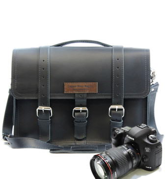 "15"" Large Sonoma BuckHorn Camera Bag Black Napa Excel Leather"