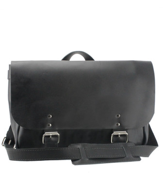 "14"" Medium Lewis & Clark Courier Mail Bag in Black Napa Excel Leather"