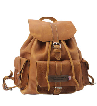 Large Dublin Backpack Tan Grizzly Leather