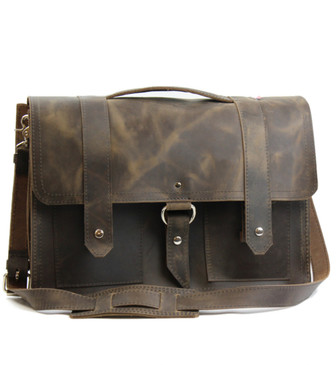 "15"" Large Classic Alpine Briefcase in Distressed Tan Oil Tanned Leather"