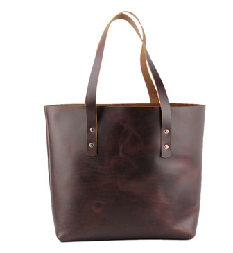 Lexington Classic Leather Tote in Coffee Brown Color