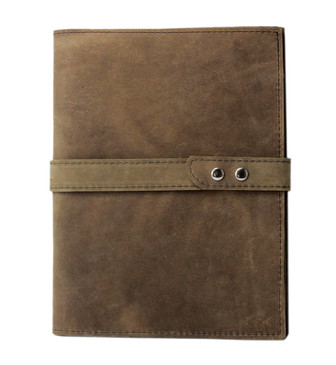 Large Padfolio in Distressed Tan Leather Made in the U.S.A. - LG-DIS-PDFOL