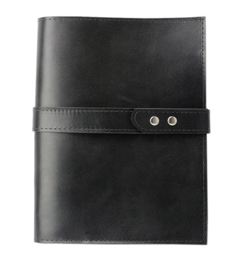 Large Padfolio in Black Latigo Leather Made in the U.S.A. - LG-BL-LAT-PDFOL