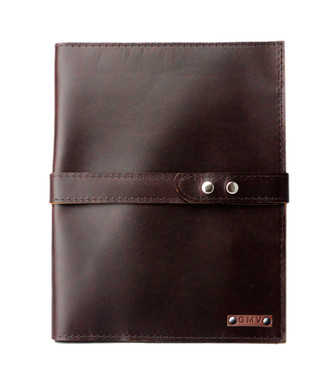 Large Padfolio in Chocolate Brown Latigo Leather with Chocolate Brown Strap Made in the U.S.A. - EX-CHBR-CHBSTR-PDF