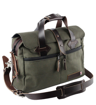 24-Hour Duffle / Briefcase - Water Resistant Roomy Cotton Duck - GREEN - 15-CD-GR-24HR-BRIF